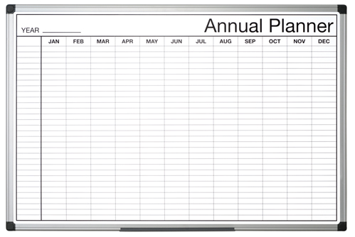 Bi-Office Black and White Annual Planner 90x60cm
