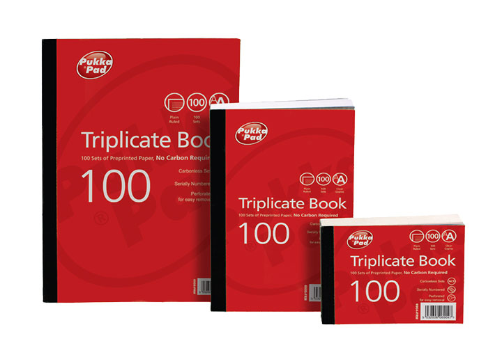 Value Triplicate Book Plain Ruled 105 x 130mm PK5