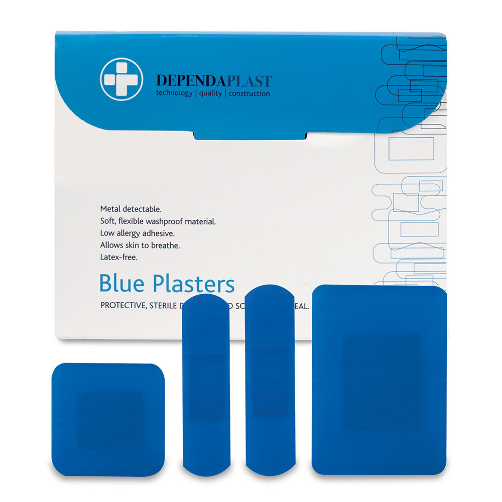 Reliance Dependaplast Plasters Blue Assorted Sizes (Pack 100)