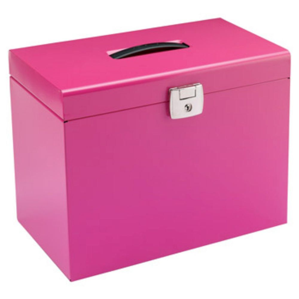 Value Metal File Box A4 Pink