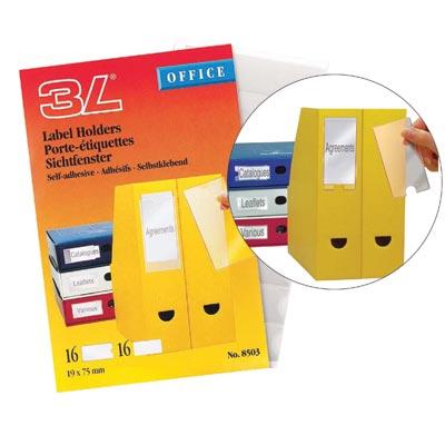Value 3L Self Adhesive Label Holders 19x75mm 10305 (PK16)