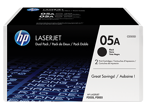 Hewlett Packard [HP] 05A LaserJet Toner Cartridges Page Life 2300pp Black Ref CE505D [Pack 2]