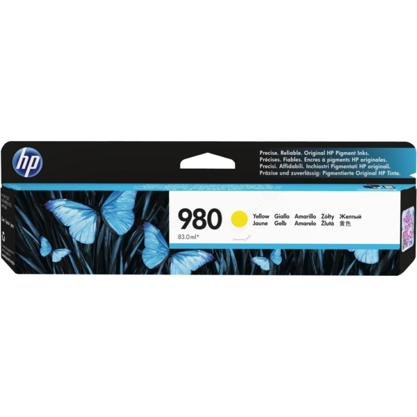Inkjet Cartridges HP 980 Yellow Standard Capacity Ink Cartridge 87ml for HP OfficeJet Enterprise Color X555/X585 - D8J09A
