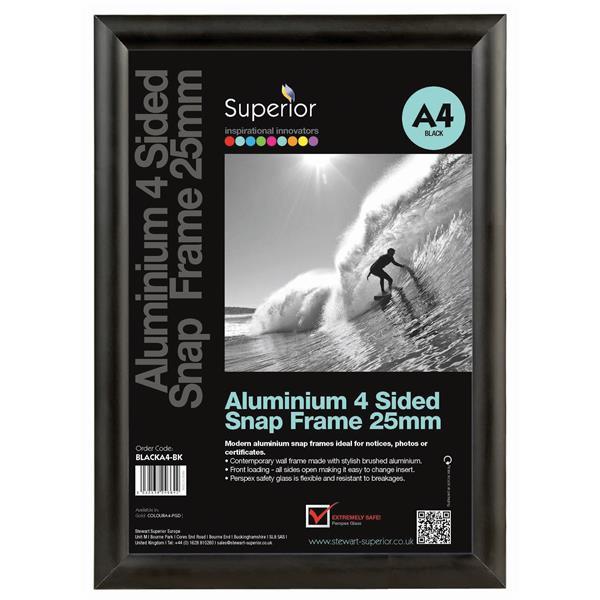 Snap Frame with Mounting Kit Aluminium Anti-glare PVC A4 Black