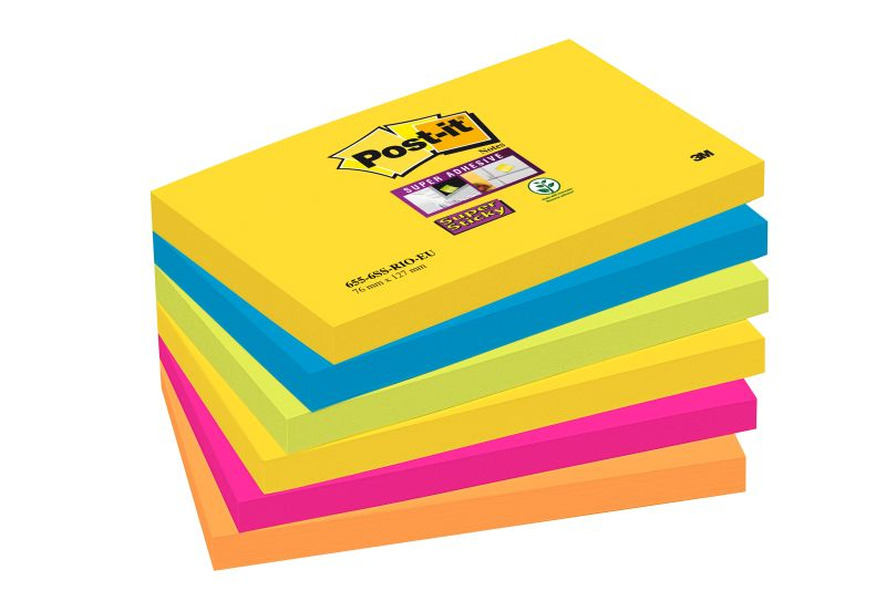 Post-it SS Notes 76x127mm Rio Asst PK6