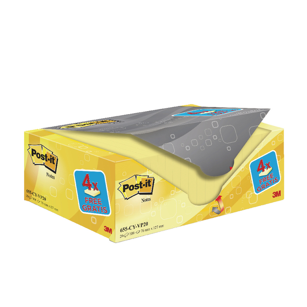 Post-It Canary 76x127mm Value Pack PK20
