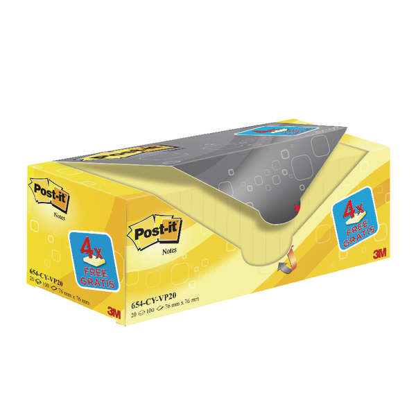 Post-It Canary Yellow 76x76mm Value Pack 654CY-VP20 PK20