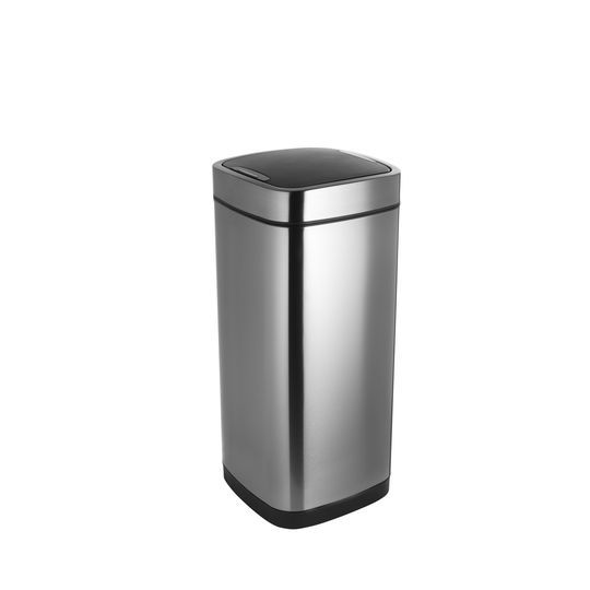 Addis Deluxe Square Waste Bin 40 Litre Press Top Stainless Steel Ref 513914