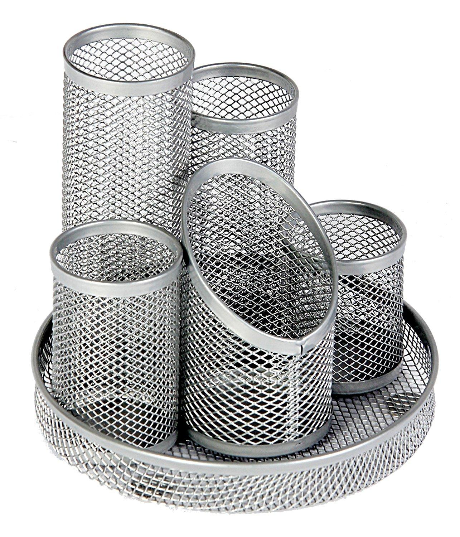 Mesh 5 Tube Pen Pot Silver