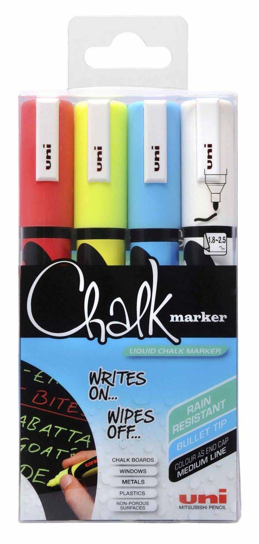 uni Chalk Marker Medium Bullet Tip PWE-5M Line Width 1.8-2.5mm Assorted Ref 153528181 [Wallet 4]