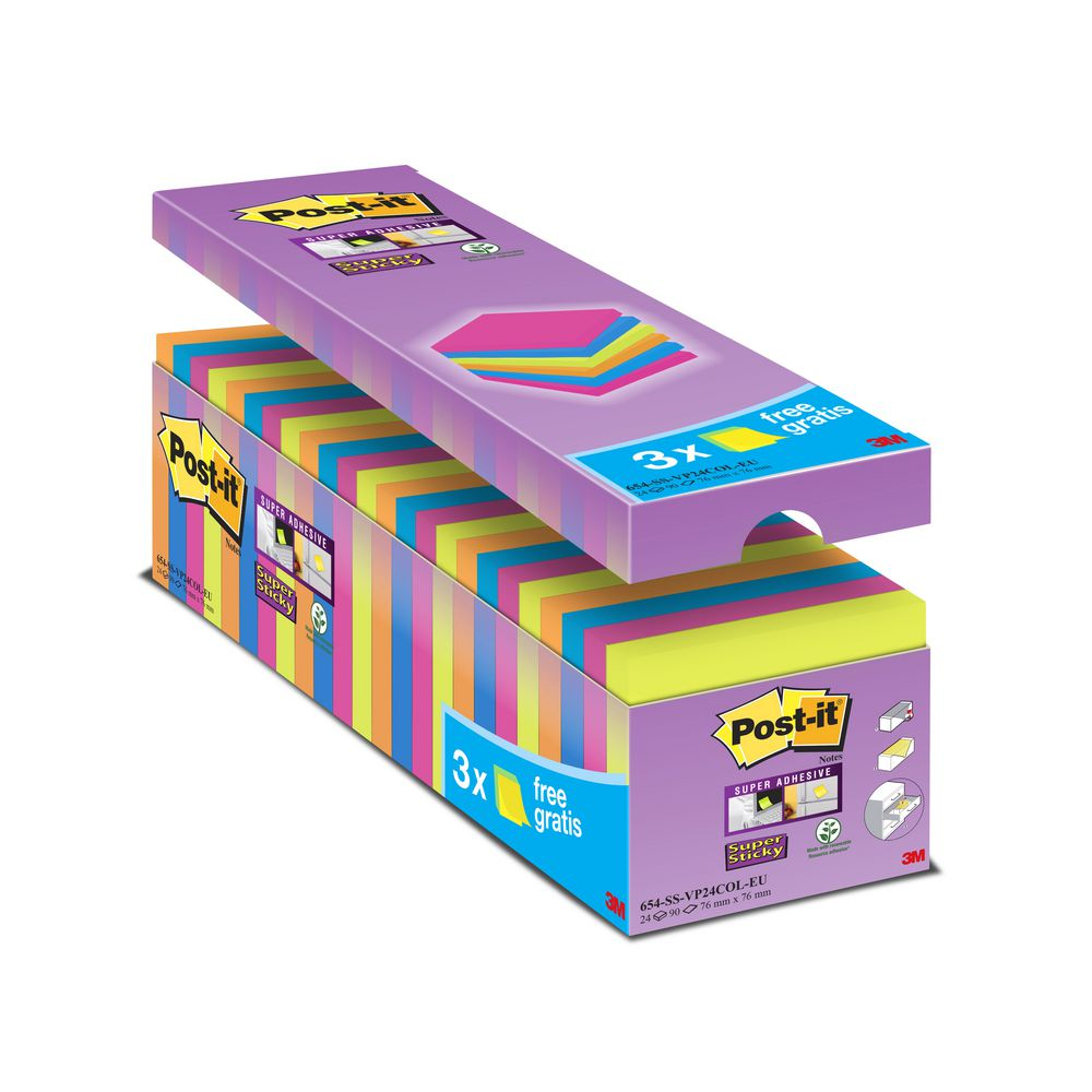 Post-it SS 76x76mm Asst 654-SS PK24