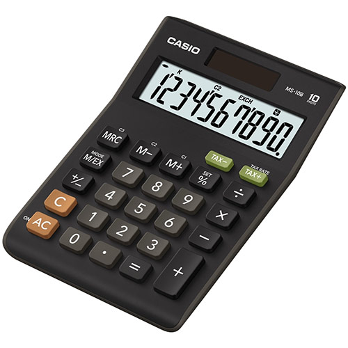 Casio Calculator Desktop Battery/Solar 10 Digit 3 Key Memory Tax Key 103x29x147mm Ref MS-10B