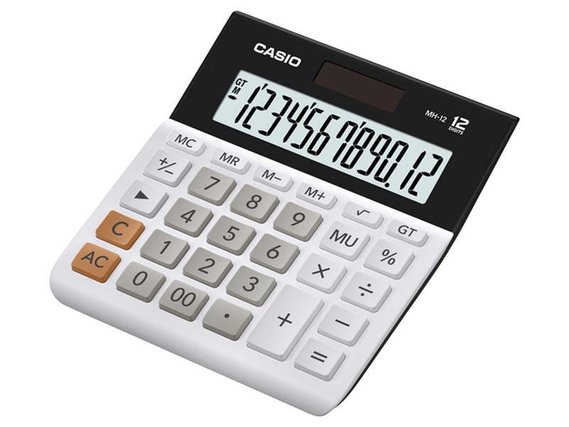 Desktop Calculator Casio MH-12WE 12 Digit Desk Calculator