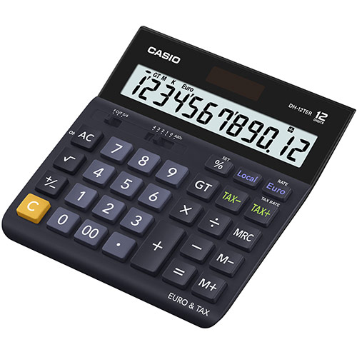 Casio DH-12TER 12 Digit Landscape Tax&Currency Calculator BK