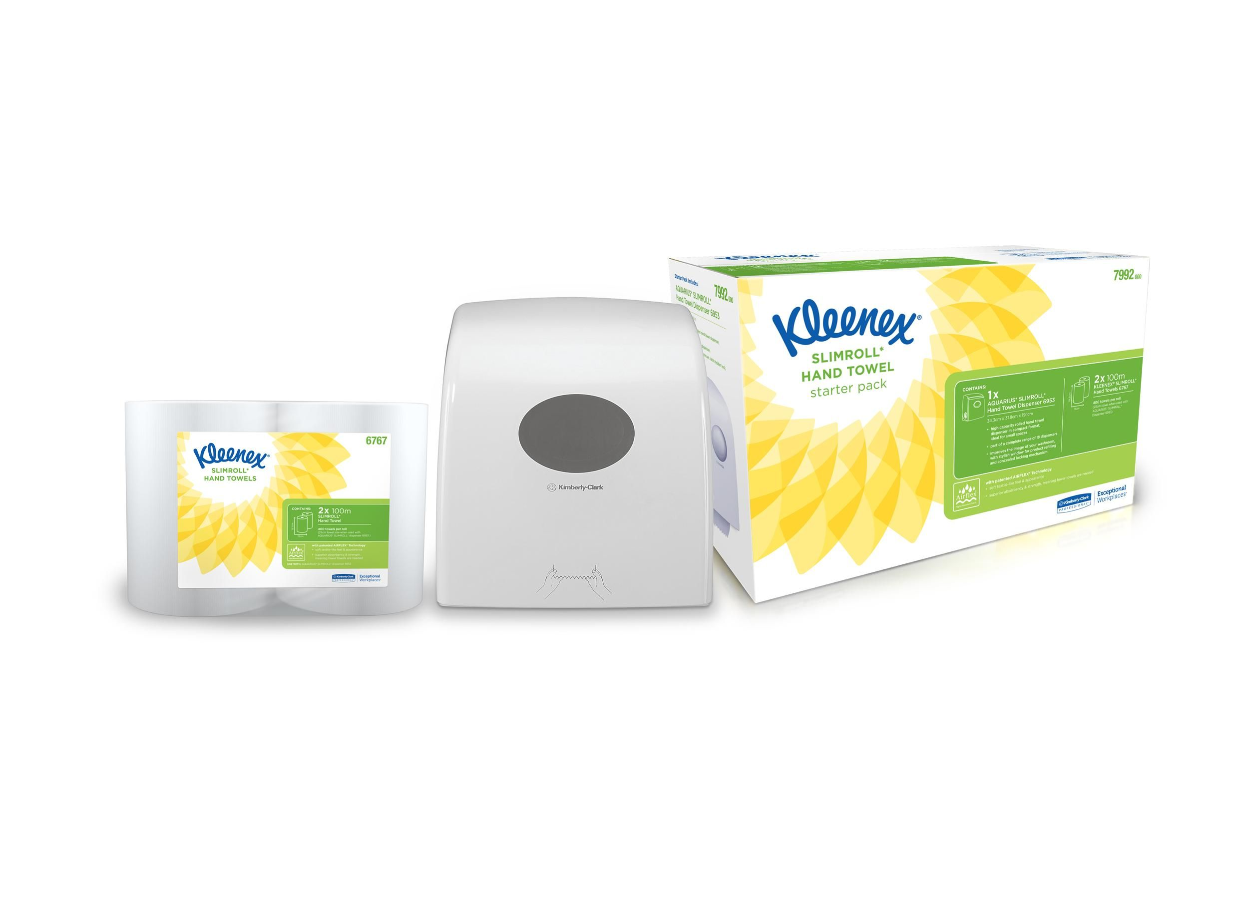 Kleenex Slimroll Starter Pack with Dispenser and Twinpack Hand Towels Ref 7992 PK