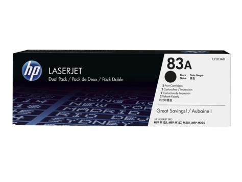 Hewlett Packard [HP] No.83A Toner Cartridge Page Life 1500pp x 2 Black Ref CF283AD [Pack 2]