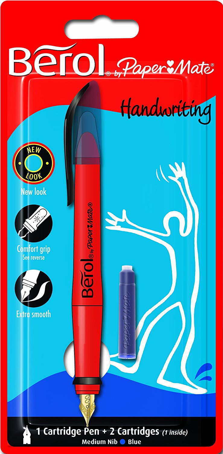 Berol Handwriting Fountain Pen with Medium Nib Blue