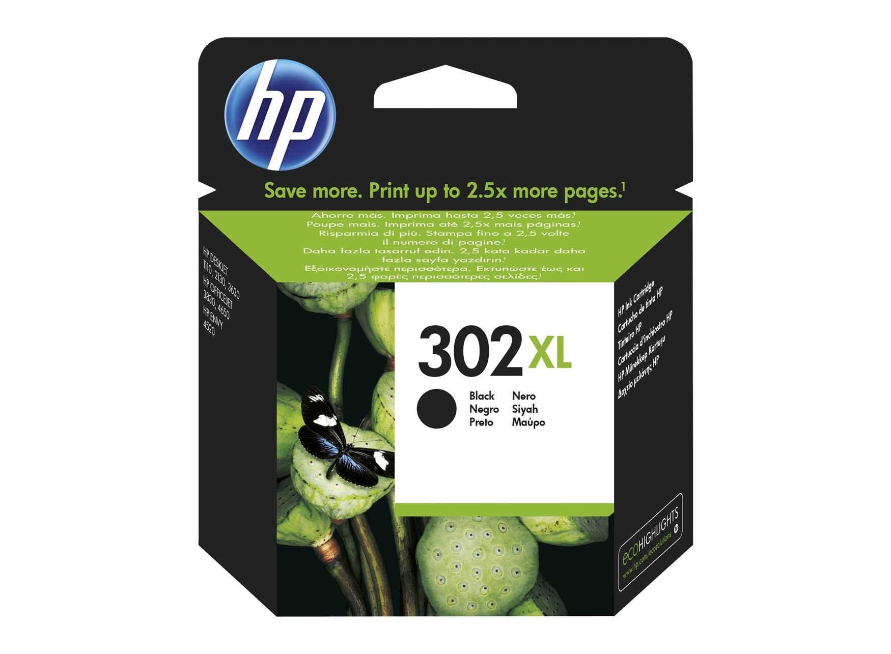 HP 302XL Ink Cart Blk F6U68AE