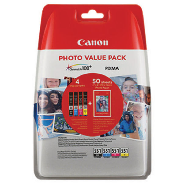 CANON 6508B005 CLI551CMYK PAPE PP501 4X6