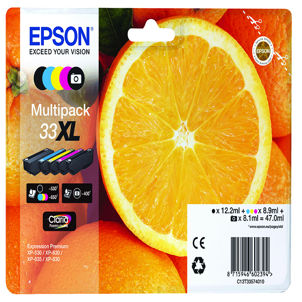 Epson T33XL InkJet Cart B/C/M/Y/PB PK5
