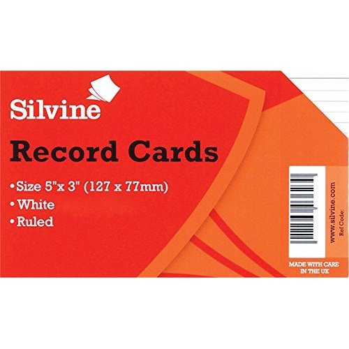 Silvine Record Cards 127x76mm Ruled WH