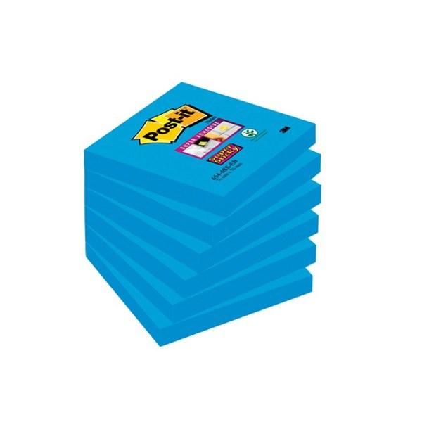 Post-it Super Sticky 76x76 Med Blue PK6