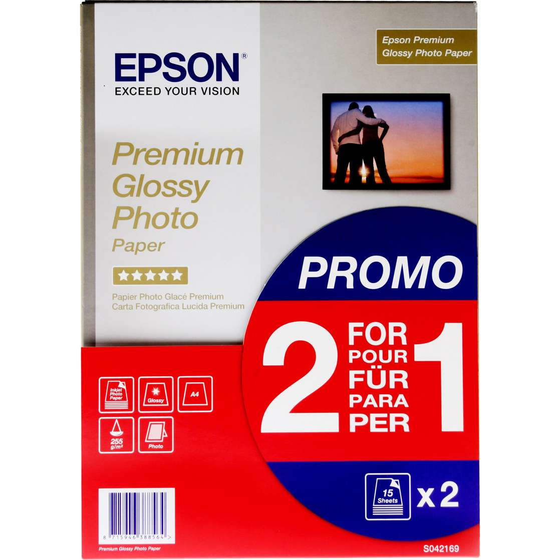 Epson Prem Glossy A4 Photo 15 Sheets BOGOF