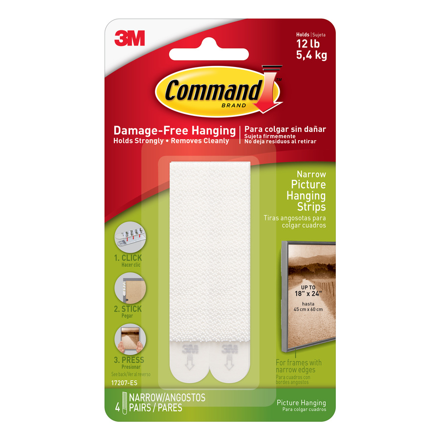 Fixers / Dots / Strips Command Narrow Picture Hanging Strips White 4 Sets 17207
