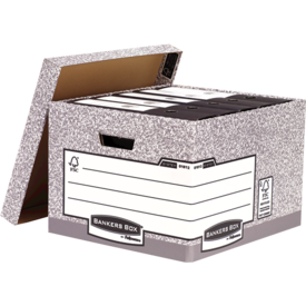 Storage Boxes Fellowes Bankers Box System Large Heavy Duty R-Kive Storage Box Board Grey (Pack 10)
