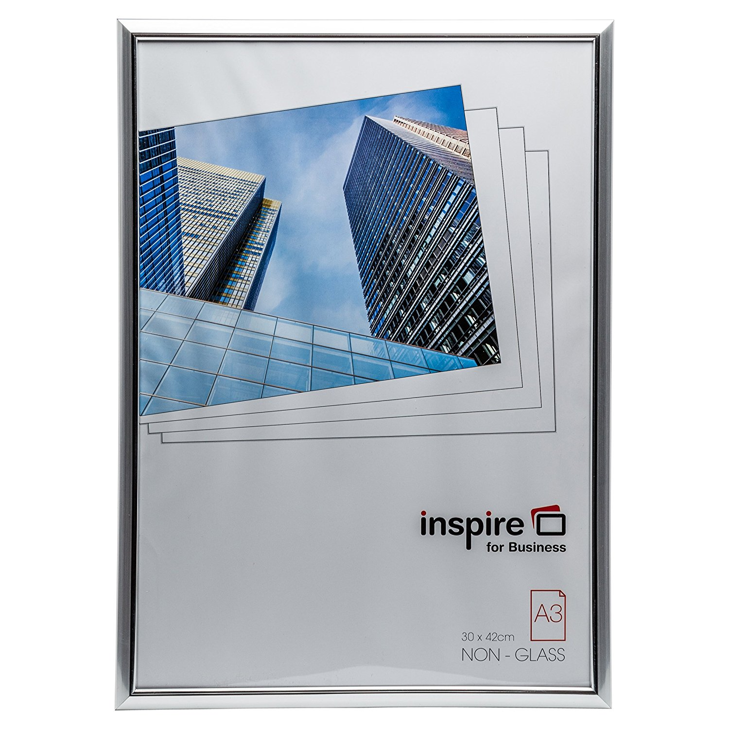 Certificate / Photo Frames Inspire For Business Certificate A3 Back Loader Silver Frame