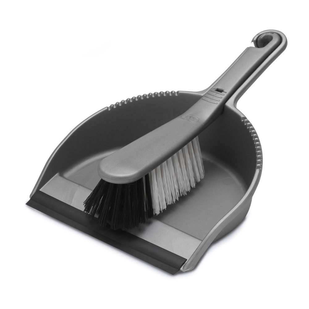 Mops & Buckets Addis Dustpan & stiff brush set metallic