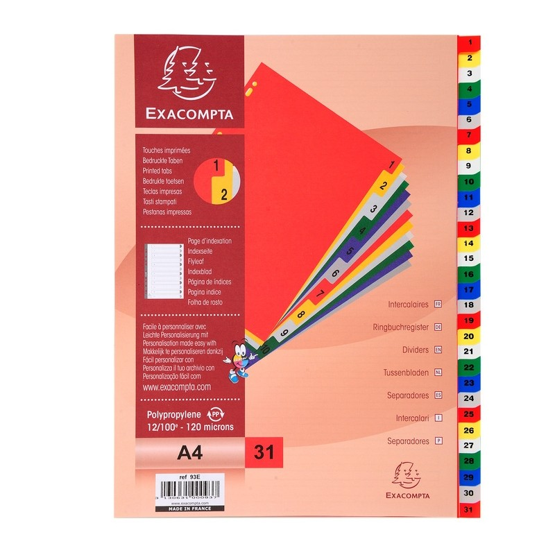 Exacompta PP A4 Index 1-31 White with Coloured Tabs