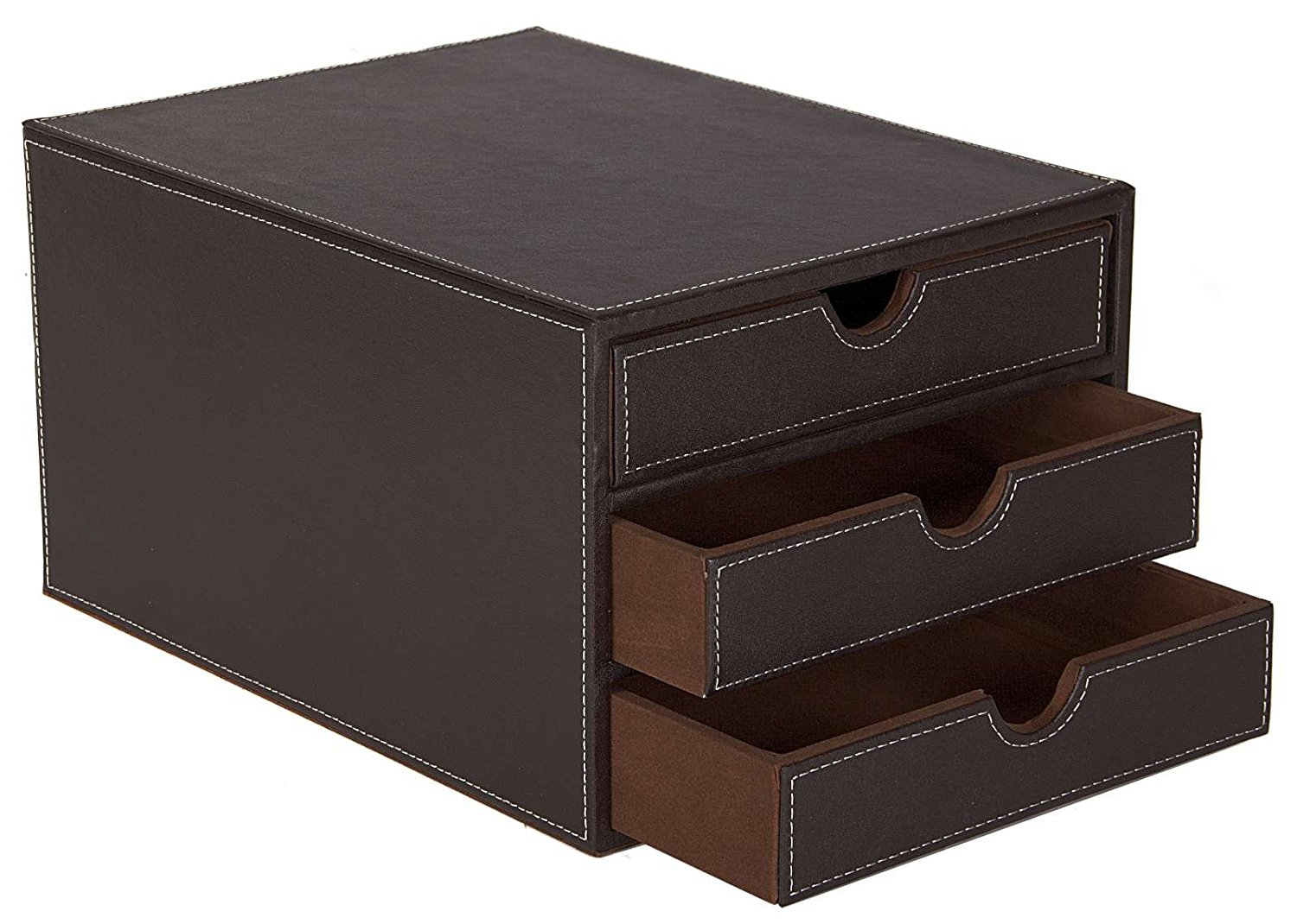 Faux Leather 3 Drawer Sorter Brown
