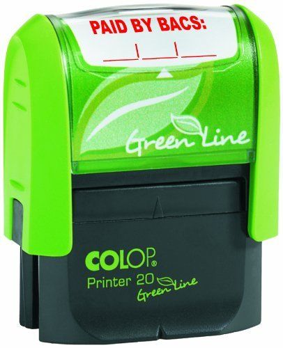 Colop Green Line P20 Self Inking Word Stamp PAID BY BACS 35x12mm Red Ink