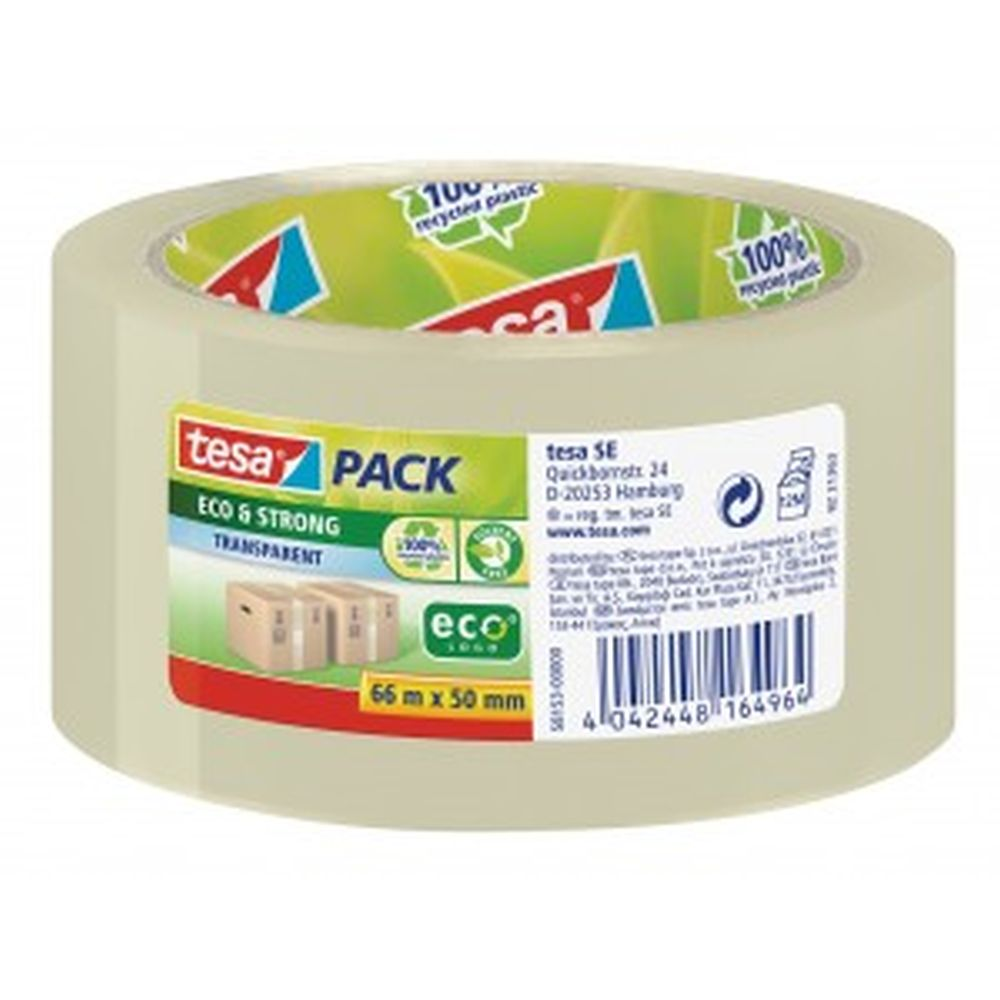 tesa EcoLogo PP Tape 50mmx66m Transparent 58153 PK6