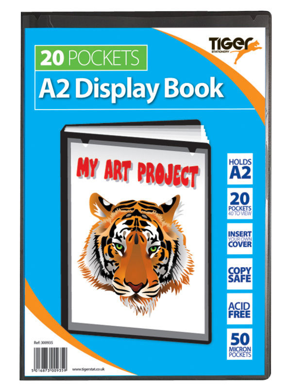 Tiger A2 Pres Display Book Black 20pkt