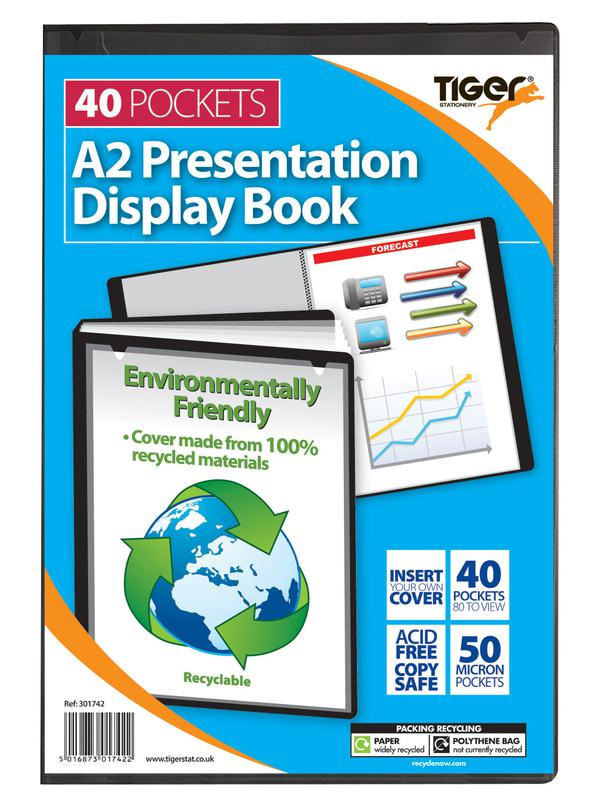 Tiger A2 Pres Display Book Black 40pkt