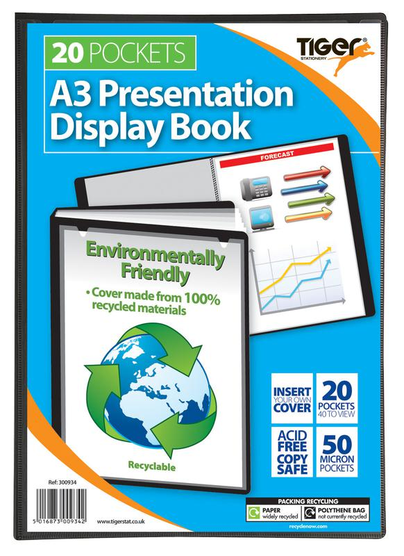 Tiger A3 Pres Display Book Black 20pkt