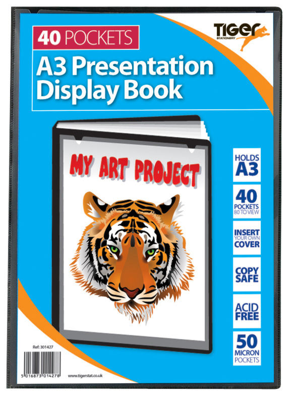 Tiger A3 Pres Display Book Black 40pkt