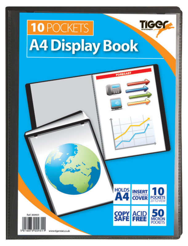 Tiger A4 Presentation Display Book Black 10 Pocket