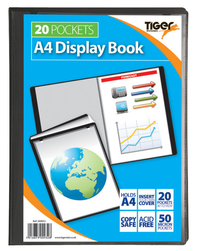 Tiger A4 Pres Display Book Black 20pkt