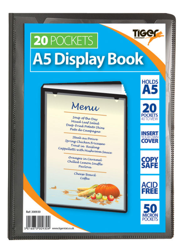 Tiger A5 Pres Display Book Black 20pkt