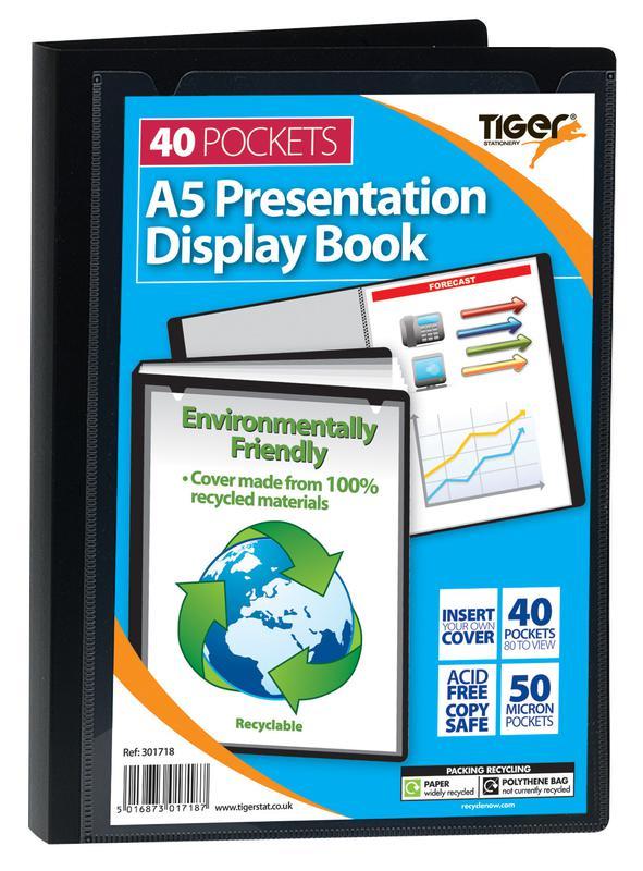 Tiger A5 Pres Display Book Black 40pkt