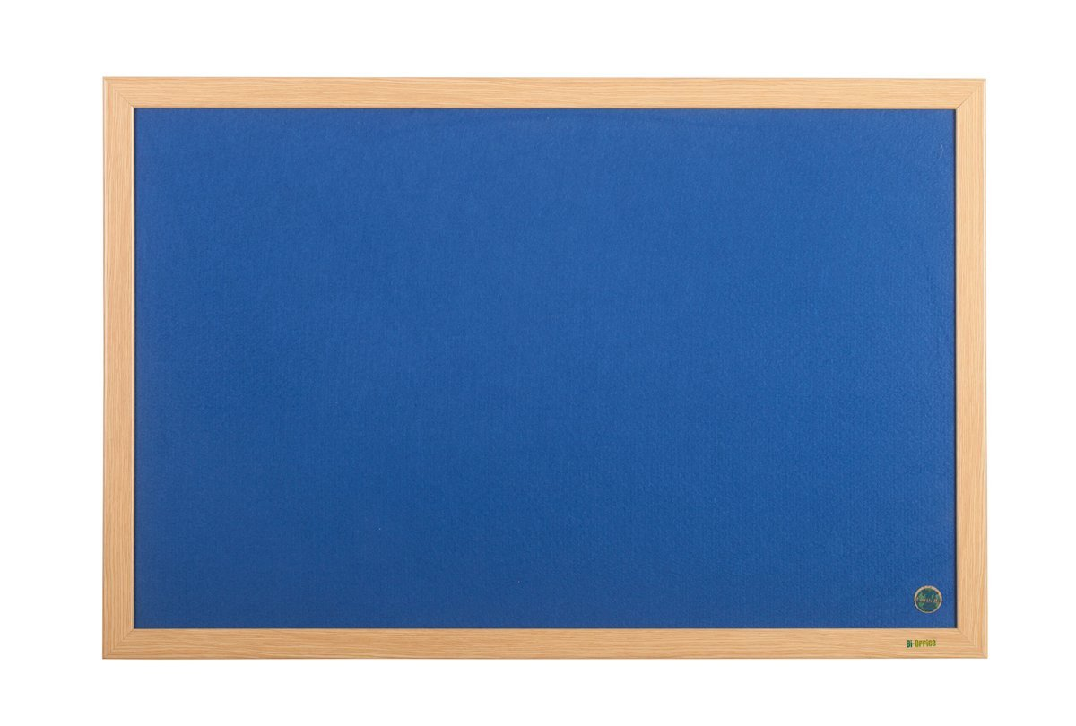 Felt Bi-Office Earth-It Blue Felt Noticeboard Oak Wood Frame 1800x1200mm
