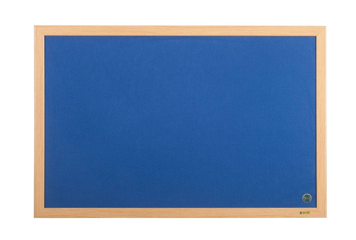 Bi-Office Earth-It Blue Felt Ntcbrd Oak Frame 240x120cm