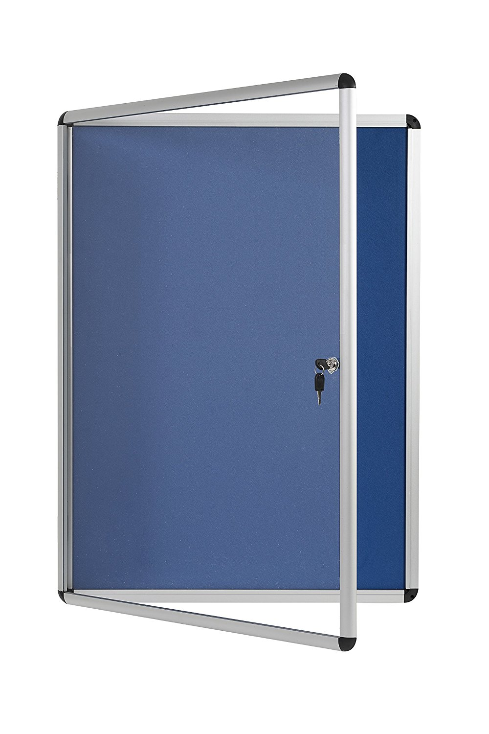 Foamboard Bi-Office Blue Felt Lockable Noticeboard 6xA4 720x670mm