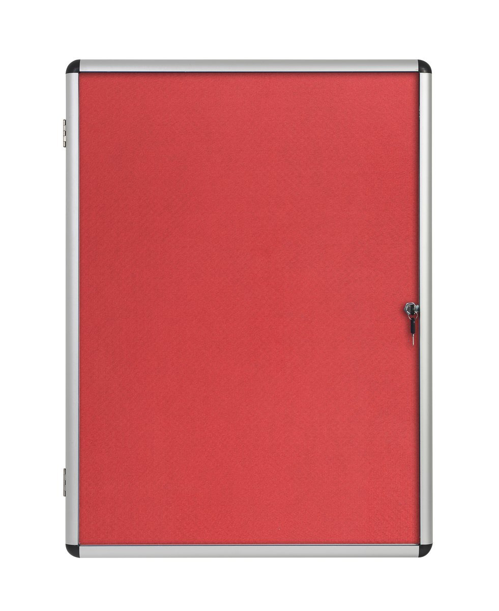 Foamboard Bi-Office Enclore Red Felt Lockable Noticeboard 9xA4