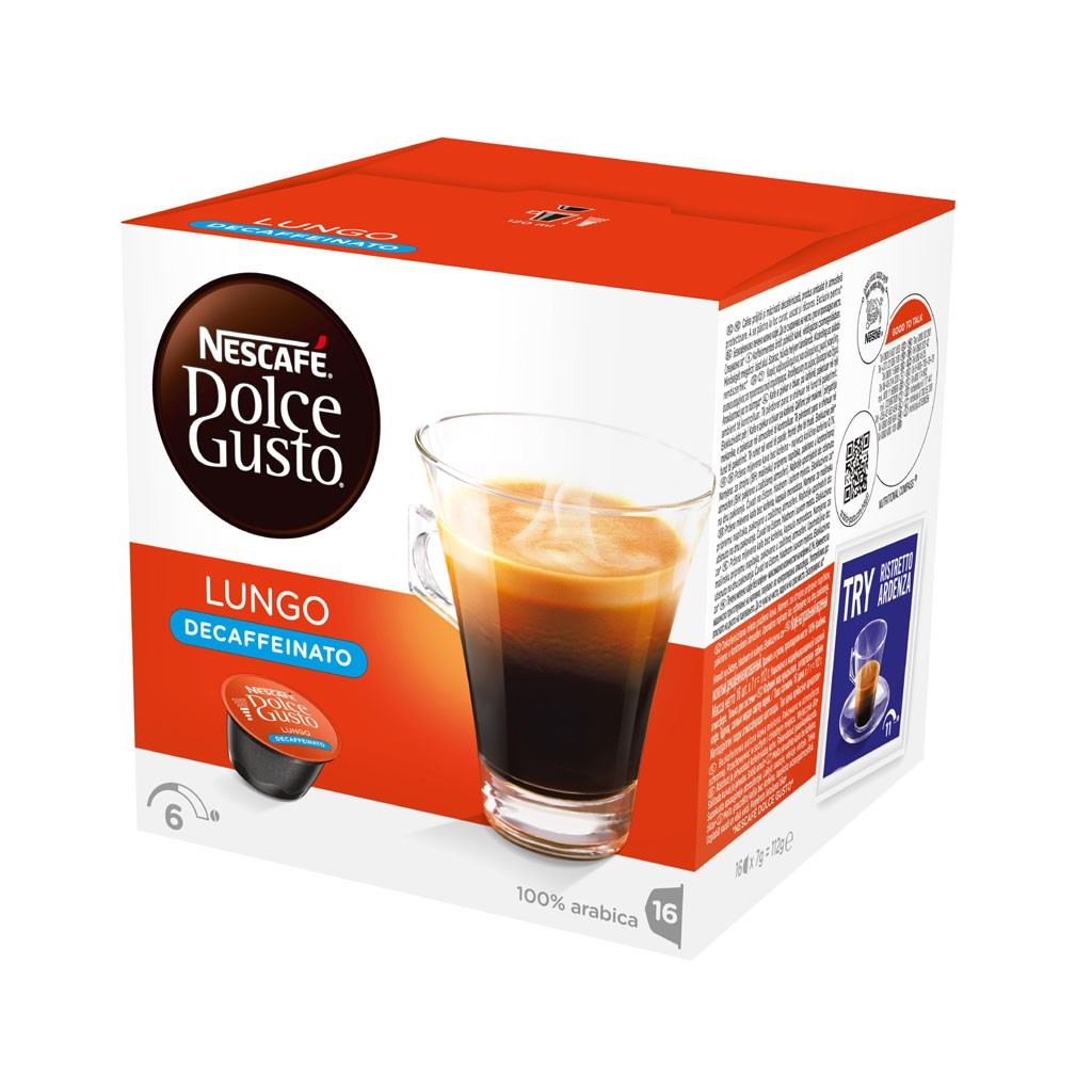 Nescafe Dolce Gusto Cafe Lungo Decaf 16 capsules (Pack 3)
