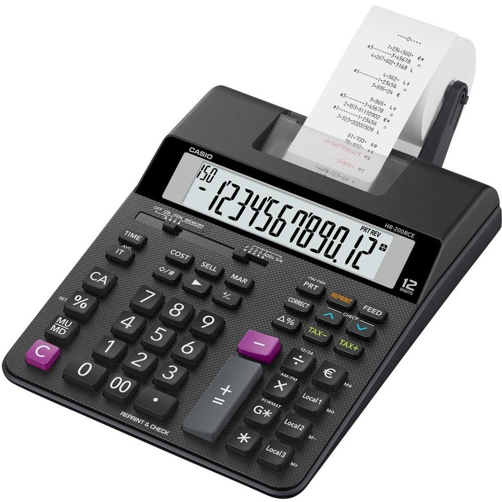 Printing Calculator Casio HR-200RCE Printing Desktop Calculator Black