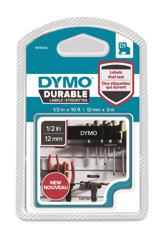 DYMO D1 Durable 12mmX3M WT on BK